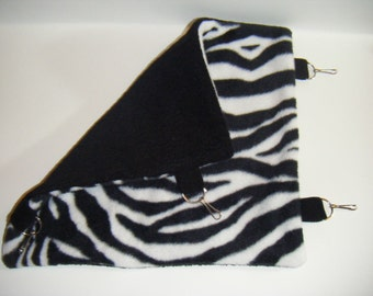 Pet Hammock, Zebra Print Fleece, Black Fleece, Feece Tabs, Cage Accessory, Rabbit, Chinchilla, Rat, Ferret, Sugar Glider