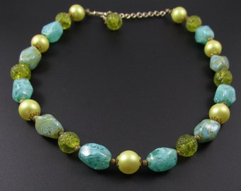 Turquoise Glass Bead Necklace, Green Glass Choker, Star Necklace, Blue Necklace, Robin Egg Blue Necklace