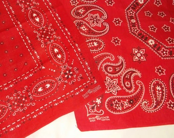 2 Vintage Red trunk up Cotton Bandannas • fast color bandana