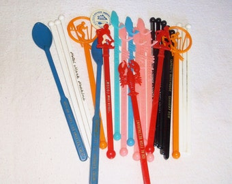 25 vintage CALIFORNIA AD Swizzle Sticks • SeaFood, Hotels, Ski, Fish, etc.