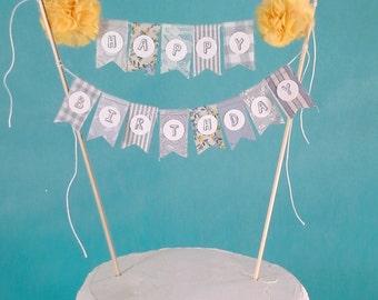Cake topper, Gray, Yellow Happy birthday banner H145, birthday cake bunting