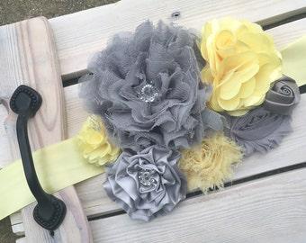 Yellow and Grey Maternity Sash---Photography Prop--Pregnancy Sash