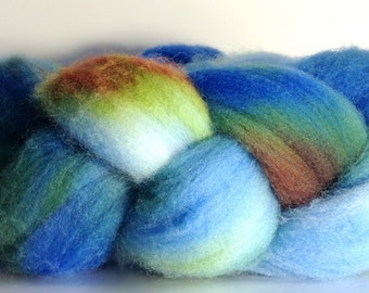 Hand Dyed Merino Roving - Earth- Merino Spinning Wool - Merino Felting Wool - 4 ounces Hand Dyed Top