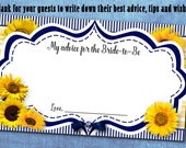 10 Bride to Be Advice Cards, Fun Party Game Card, Sunflowers, Navy & Yellow, Bridal or Lingerie Shower, Bachelorette Party