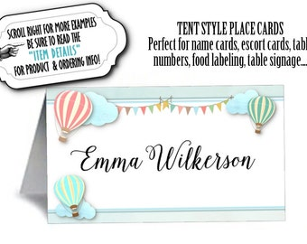 Personalized Tent Style Place Cards, Table Number, Food Label Card, Pastel Hot Air Balloons, Wedding, Bridal or Baby Shower, Birthday