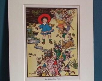 The Flight of the Fairies Rosa C. Petherick - original antique vintage book print Little Folk magazine children's nursery art elves pixies