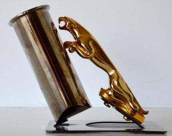 Vintage Jaguar Pen Holder Home Office Decor Pipe Holder Gold Brass and Silver Tone Hollywood Regency Decor