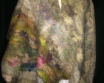 Ponch/wrap hand made in merino wool hand dyed wet felted garment
