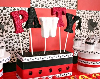Puppy Party, Centerpieces, Pawty, Pet Party, Paws, Dog Party, Puppy, Puppy Party Decorations, Dalmatians Party