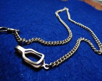 "Nice Sturdy Linked Signed 17"" Pocket Watch Chain"