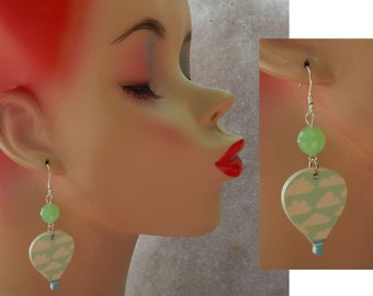 Hot Air Balloon & Clouds Charm Drop/Dangle Earrings Handmade Jewelry Hook NEW Silver Accessories Fashion