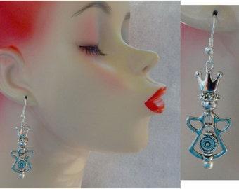 Gold Guardian Angel Bead Frame Drop/Dangle Charm Earrings Handmade Jewelry Hook Accessories