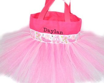 Ballet Tote Bag, Dance Bag, Pink Dance Ribbon With FREE Monogram Name Embroidered on the Bag, Personalized Girl, Fairy Bag, Ballet Bag