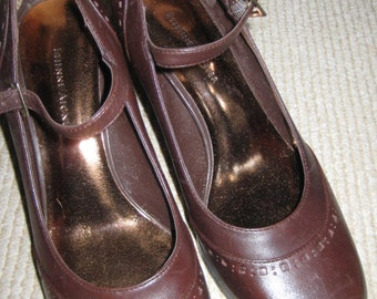 Aigner Mary Janes/Vintage Mary Janes/Brown Leather Mary Janes