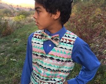 Boys Native Print Vest and Bowtie Set