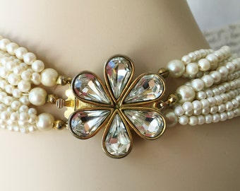 Vintage Pearl Necklace Choker, Chunky Pearl Necklace, Multistrand Necklace, Ivory Pearl Necklace Wedding Jewelry w/ Rhinestone Flower Latch