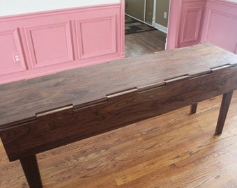 Danish Modern Drop Leaf Table with hand cut wooden hinges