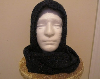 Scoodie Hooded Scarf in Navy Blue Tweed Ready to Ship!
