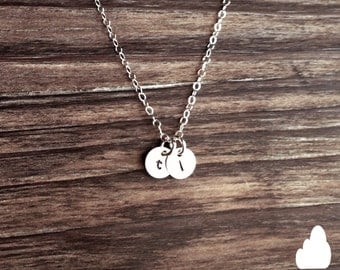 """SALE - Tiny Customized Sterling Silver Necklace 1/4"""" disc - Hand Stamped Initial - Personalized Charm - Sterling Silver The Lovely Raindrop"""