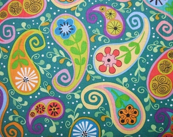 Cutting Garden Colorful Paisley Teal Andover Fabric Yard