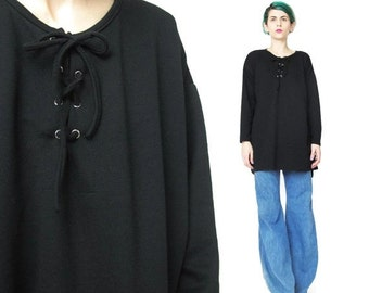 25% off SALE Vintage 90s Black Long Sleeve Tshirt Lace Up Jersey Top African Corset Ties Neckline Oversize Black Tunic Top Slouchy Pullover
