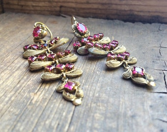 "Vintage Ecuador gold plated filigree with synthetic rubies 2.5"" long chandeleir earrings Spanish Colonial Cuenca style, collectible filigree"