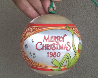 Hallmark Muppets 1980 satin ornament, vintage Muppet Sesame Street Christmas collection, Miss Piggy  Kermit the Frog Fozzie vintage ornament