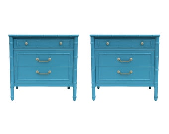 Pair Faux Bamboo Turquoise Hollywood Regency Chest Dressers by Thomasville