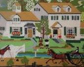 Vintage Embroidered Picture, Hand Stitched, Hand Embroidered, Country Village Picture Frame