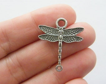 8 Dragonfly connector charms antique silver tone A320