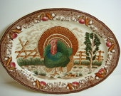 Turkey Platter - Transferware - Large - Thanksgiving Platter