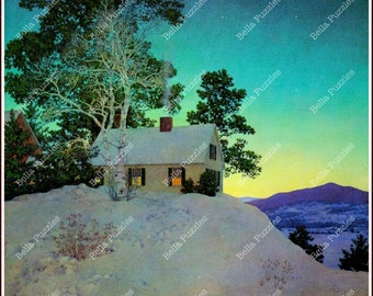 Hand-cut wooden jigsaw puzzle. HOUSE on SNOWY HILL. Maxfield Parrish. Vintage illustration. Wood, collectible. Bella Puzzles.