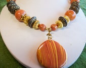 Peach and Tangerine Stripe Jasper Chunky Artisan Pendant Necklace Antiqued Brass Beads              Free Shipping in the USA