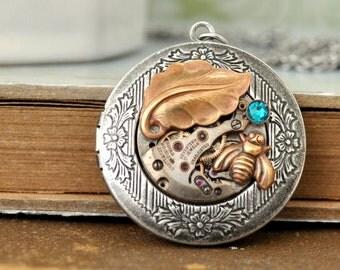 steampunk locket necklace, steampunk jewelry, BEE HAPPY LOCKET, leaf necklace, antiqued silver photo locket necklace, watch movement locket