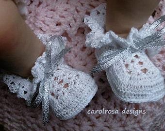 Crochet PATTERN - Christening Baptism Heirloom Baby Shoes Booties - Thread Crochet  CR16