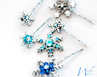 Snowflake Hairpins - for Frozen Elsa Costume with Swarovski crystals, Silver & Blue snowflake bobby pin hair accessories for Disney Princess