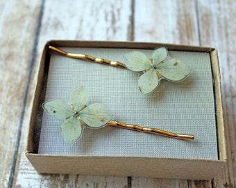 Green Hydrangea Bobby Pins - Set of 2 Real Flower Hair Pins - Wedding Hair Pins - Flower Girl Hair Pins - Bridesmaid Bobby Pins