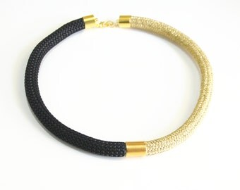 Gold Rope Cord necklace- Braided Trim Black Rope Cord Choker necklace- Rope jewelry -Black and Gold cord  Necklace- Statement Cord Jewelry-