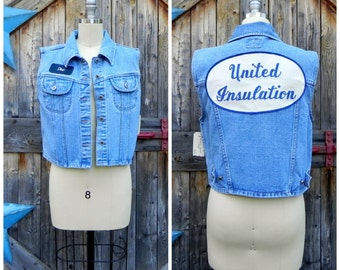 1980's denim vest with large back patch
