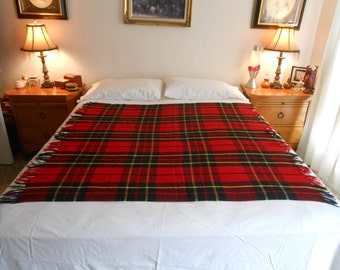 "Lightweight Acrylic Throw in a Tartan Plaid/52"" by 52"" Size"