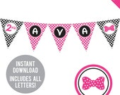 INSTANT DOWNLOAD Minnie Mouse Party - DIY printable pennant banner - Includes all letters, plus ages 1-18