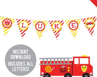 INSTANT DOWNLOAD Fire Truck Party - DIY printable pennant banner - Includes all letters, plus ages 1-18