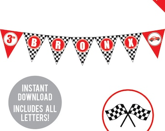 INSTANT DOWNLOAD Race Car Party - DIY printable pennant banner - Includes all letters, plus ages 1-18