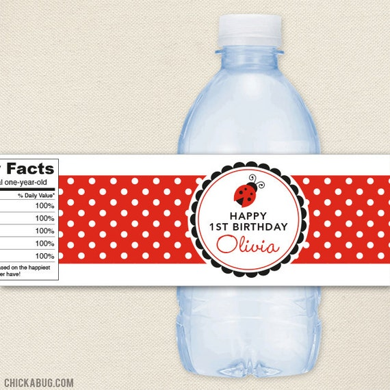 Ladybug Party - 100% waterproof personalized water bottle labels