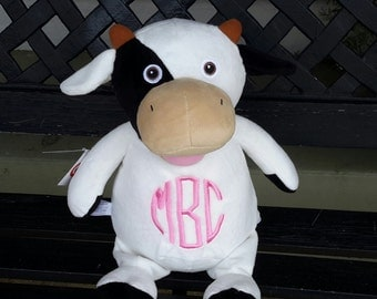 Personalized cow, Personalized stuffed animal, Personalized baby gift, baby shower gift, new baby gift, monogrammed cow,