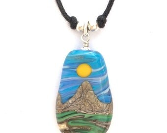 Necklace : Handmade Lampwork Goldstone Desert Sun Mountain Landscape Focal Bead on Cotton with .925 Sterling Silver Findings