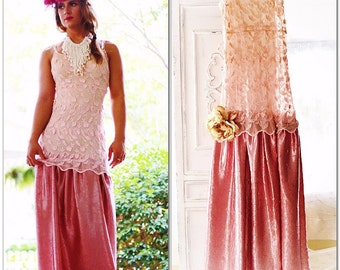 Sale French Lace Maxi Dress, Shabby Cottage Chic French Pink Slip Dress, Parisian Dresses, Romantic Boho Country Chic, True Rebel Clothing