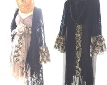 black Kimono, Bohemian gypsy bell sleeve sweater kimono jacket, Coachella music festival hoodie hippie kimono, Boho, True rebel clothing