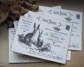 french market le lapin carte postale bunny tags set of 6