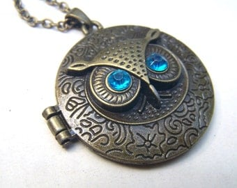 Owl Locket Necklace Brass Owl Jewelry Under 25 Gift for Her Friend
